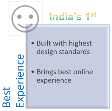 Best User experience > Built with highest design standards, Brings best online experience.
