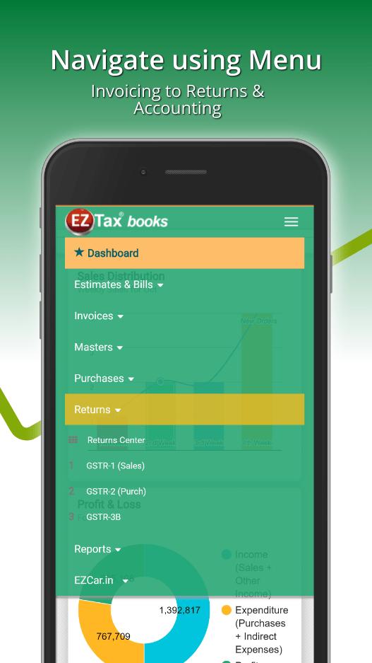 EZTax.in GST Accounting Menu Options