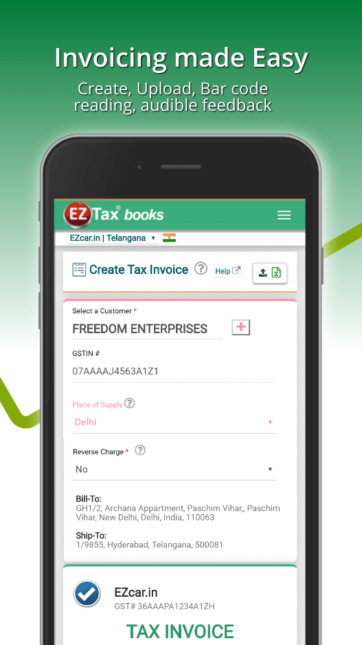 EZTax.in GST Accounting Tax Invoice on Mobile