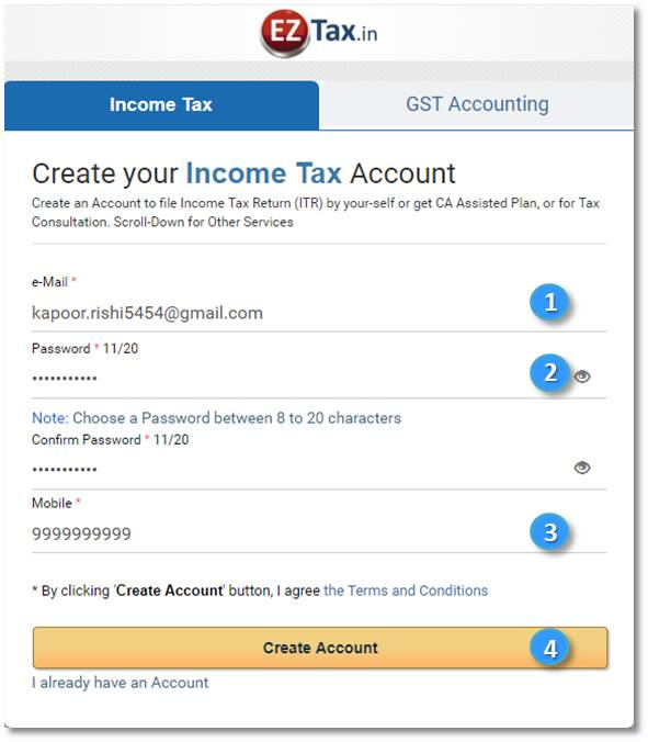 EZtax.in IT Account Creation