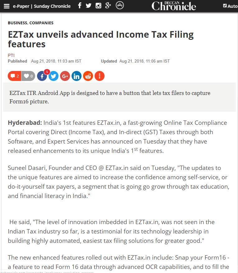 Press Coverage | EZTax in | Company News, Press Releases