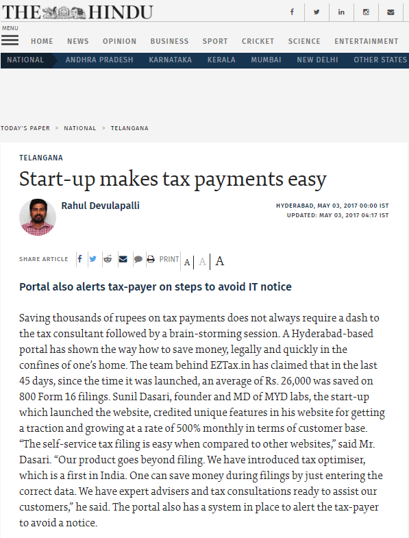 Press coverage from theHindu.com on EZTax.in